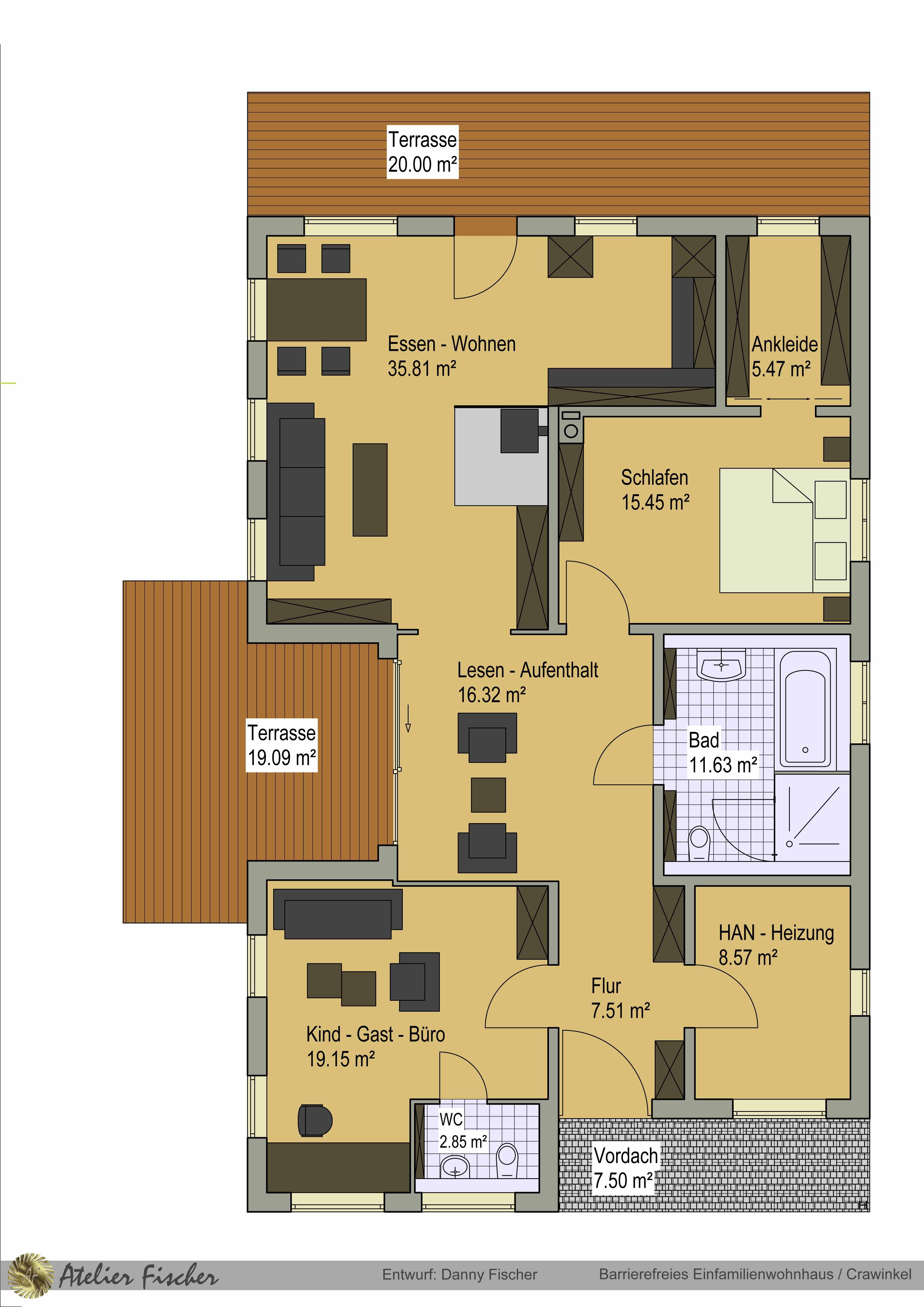 Entwurf barrierefreies Einfamilienwohnhaus / Crawinkel