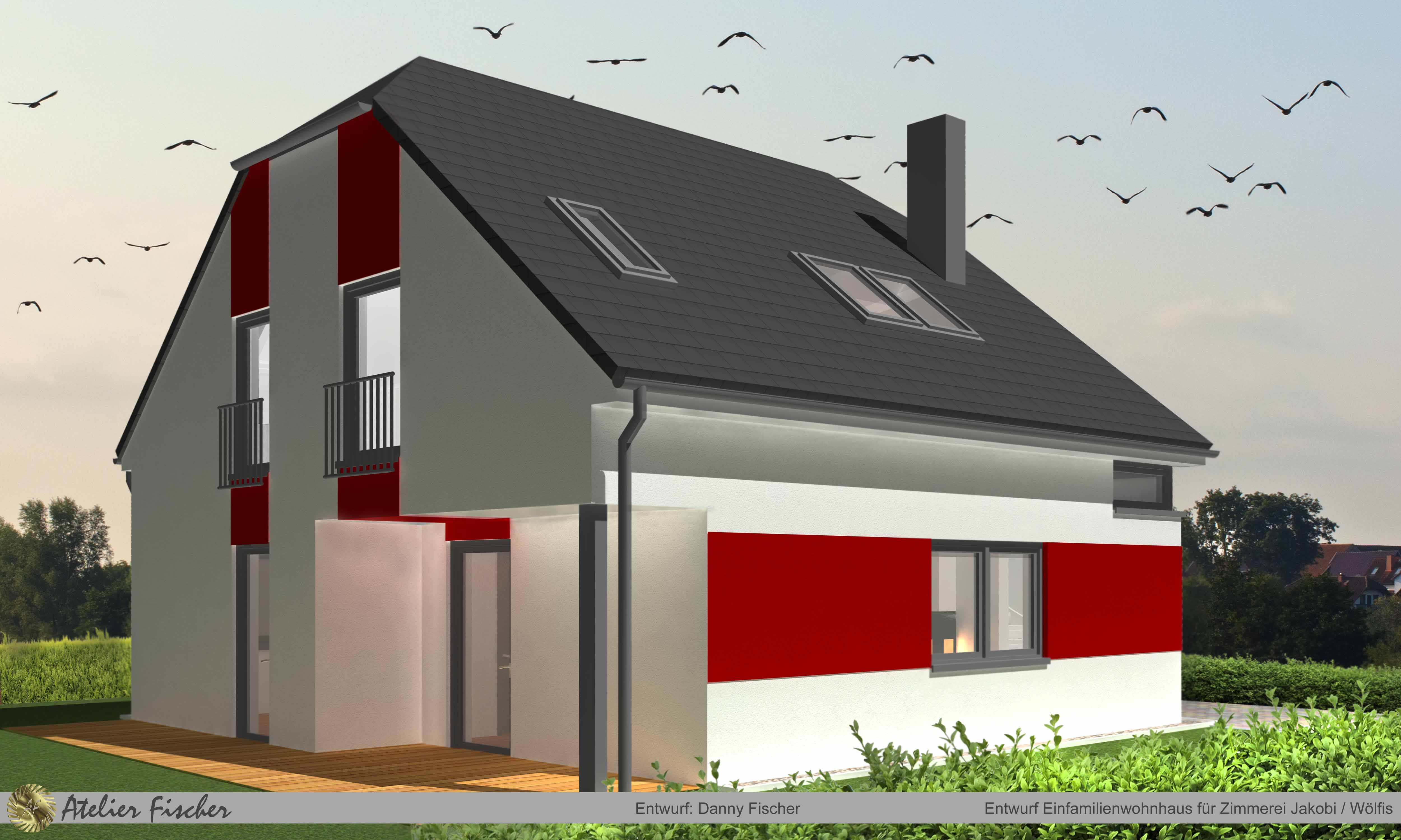 Entwurf Einfamilienwohnhaus für Zimmerei Jakobi / Wölfis