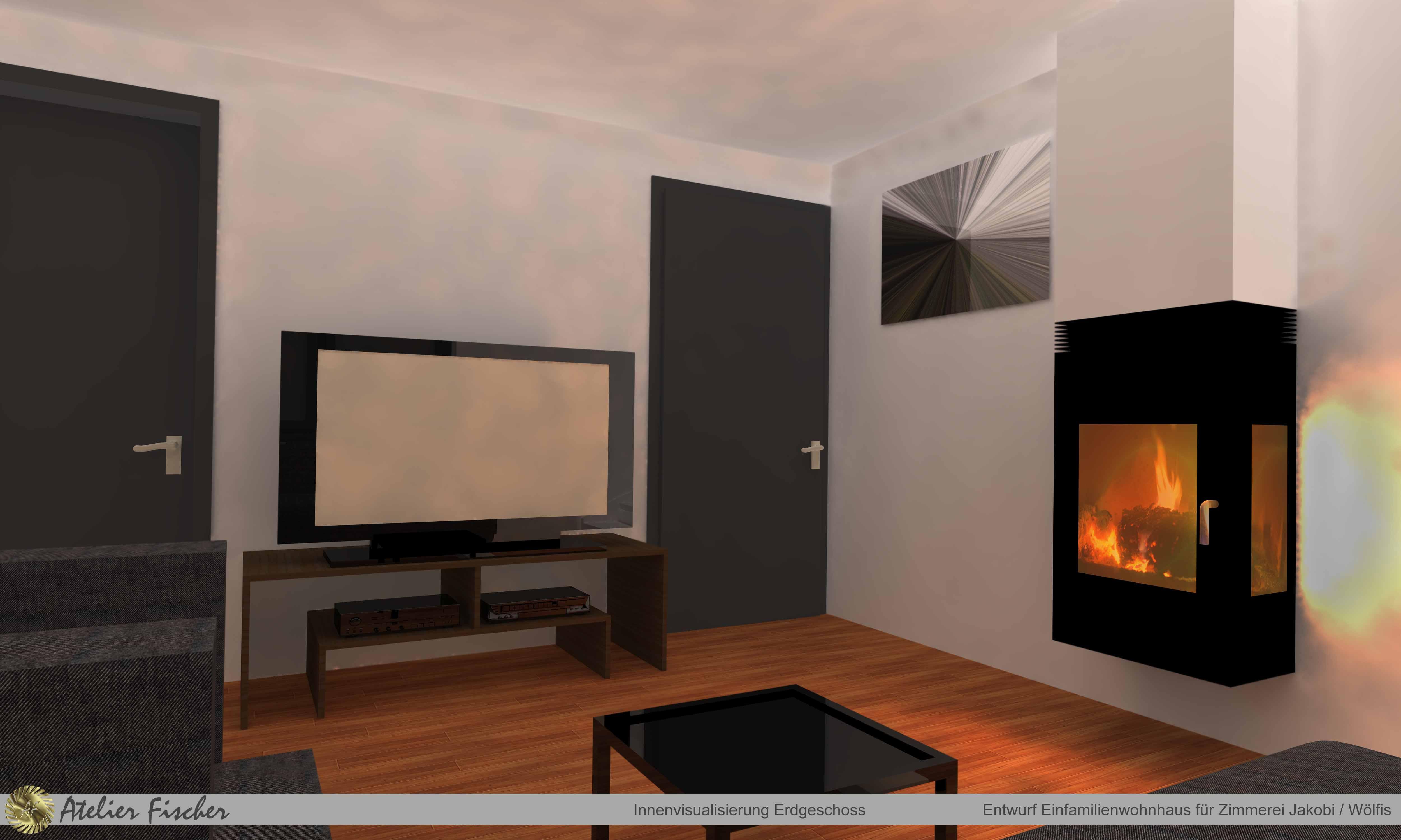 Innenvisualisierung Einfamilienwohnhaus für Zimmerei Jakobi / Wölfis