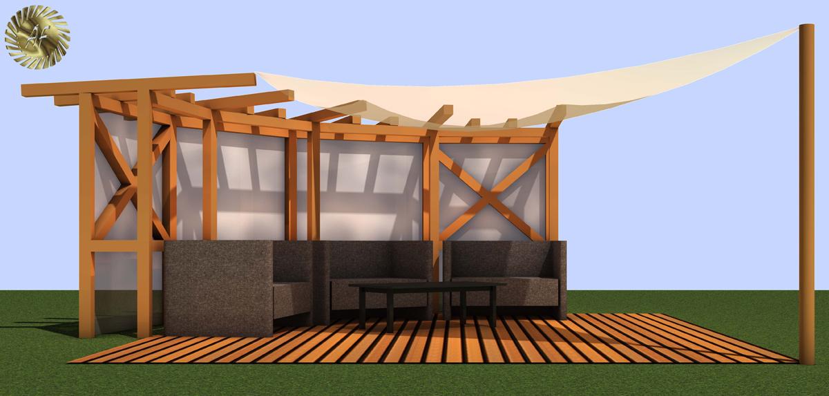 Planung einer Terrasse mit großer Pergola / Weimar